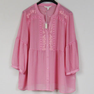 Embroidered Boho Peasant Top Pink Plus XXL NWT